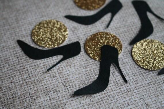 High Heel Confetti Bachelorette Party Decoration Black Gold