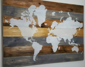 BLOWOUT SALE 25% OFF | World Map on Wood | Wall Art | Wall Decor