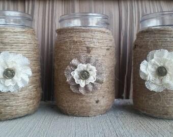 Rustic Mason Jar, Rustic Wedding Decor,Barn Wedding Decor,Bridal Shower Decor,Country Wedding, Shabby Chic Mason Jar, Mason Jar