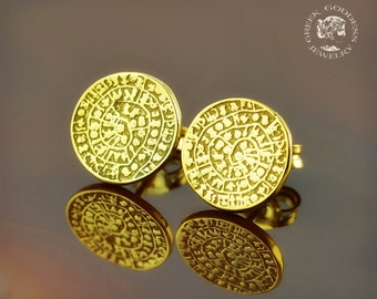 Phaistos Disc golden stud earrings, Phaistos Disc earrings, Phaistos Disc, greek earrings, antique earrings, greek jewelry, Phaistos, greek