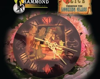 Alice through the looking glass wooden clock