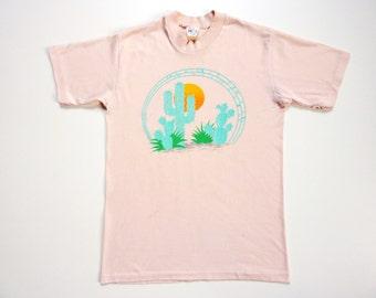Vintage 80's Summer Tee-Shirt Sunshine Cactus Desert