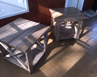Rustic X End Tables - Set of 2