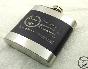 Custom Personalized 6oz Steel Black Strip Flask Wedding Favor , Your Handwriting, Text, Logo