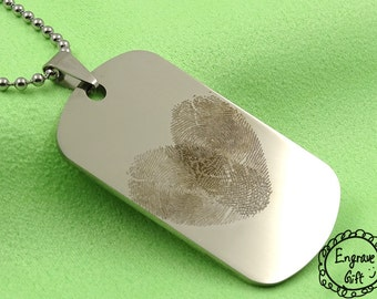 Personalized Finger Print Overlap in Heart Dog Tag Necklace, handwriting keychain. Lover Gift, Gift for him and her