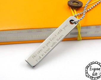 Soild Steel Bar Necklace,Personalized Signature Necklace,Handwriting Necklace,Vertical Bar Necklace,Personalized Jewelry
