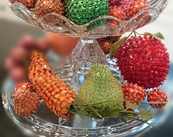 Sequined Fruit/Handmade/Kitsch/Kitchen Decoration