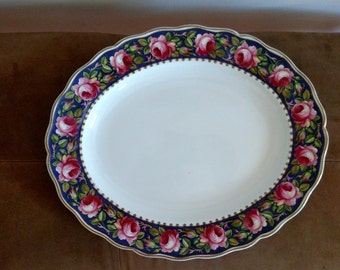 Vintage Grindley Royal Petal Marlborough Platter/ Ironstone Pink Roses Navy Blue Border/ Gold edge/ Ironstone/ Cottage Chic Made in England