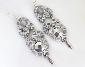 Silver grey earrings soutache earrings long earrings long chandeliers earrings silver color earrings