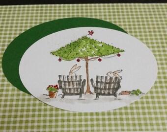 Handmade bunny thank you card