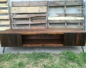 Honey colored entertainment center with doors , console table, media console , reclaimed wood, craft furniture