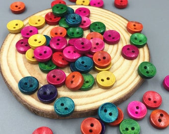 Wood Buttons Mixed Colours - Sewing Buttons - Craft Buttons - 10 Assorted Buttons