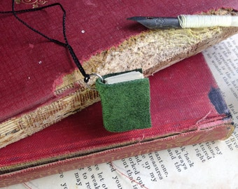 Suede Book/Journal Necklace, , Handmade, Green, Leather