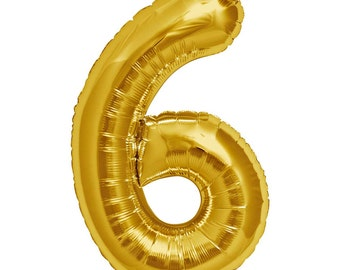 """JUMBO Number 6 balloon. 34"""". Gold number six balloons. Sixth birthday number balloon.  Big number balloons. Large gold number 6 balloon"""