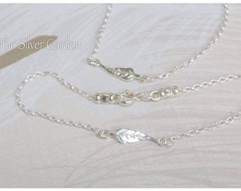 Silver Feather Necklace, Silver Charm Necklace, Feather Necklace, Silver Connector Necklace, Memory Necklace, Memory Jewellery, Memorial