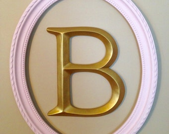 large wall letter framed letter pink and gold nursery decor any color combination