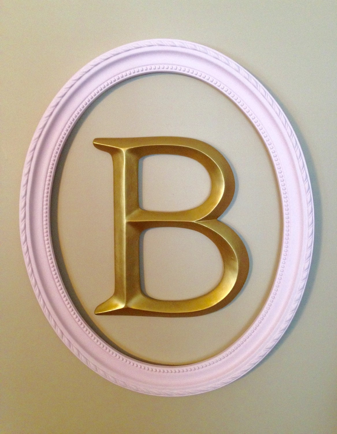 Large wall letter framed letter pink and gold nursery decor for Large gold letters for walls