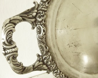 Antique large tray, silver-plated, engraved: Hotel Vier Grenzen....CHARMANT!