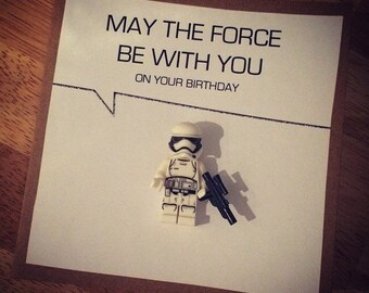 Personalised storm trooper let the force be with you birthday card. Can be personalised to wording choice wanted too
