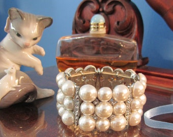 Pearl Rhinestone Cuff Bracelet Vintage Large Faux Pearls Hollywood Glamor Costume Jewelry