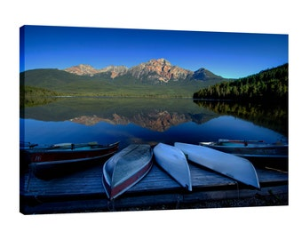 Mountain Canvas Wall Art Pyramid Lake Jasper National Park Alberta Canada canoe Lake dock still water reflections nature landscape