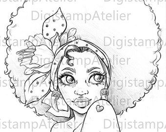 Afro Girl. INSTANT DOWNLOAD Digital Digi Stamps.