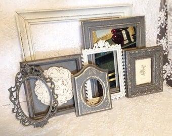Frames-Gallery Frames-painted frames-wall art frames-collage frames- vintage frames-grey frames-shabby chic frames-white frames-old frames