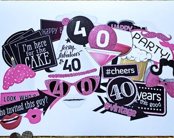 Photo Booth Props, 40TH BIRTHDAY GIRL, printed, cut, and ready to ship, party planning, ideas, and fun