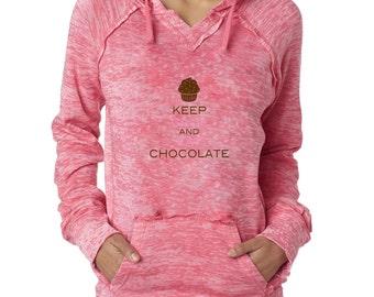 Keep Calm And Eat Chocolate Keep Calm Cupcake Burnout Hoodies