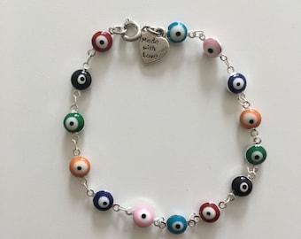 Colored evil eye bracelet