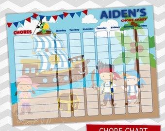 Pirates Chore Chart / Kids Chore Chart / Printable File