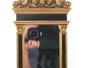 """SALE Gorgeous SYROCO mirror - 1960s vintage, gold and black, Greco-Roman style with columns, floral detail, rectangular, mid century, 17"""" ta"""