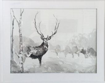 One of a kind watercolor deer