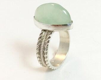 Chrysoprase gemstone ring
