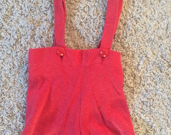 1940's size 2 toddler suspender shorts romper