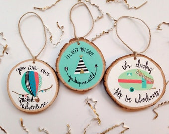 Three Hand Painted Christmas Ornaments,Gift Set, Gift for Her, Affordable Gifts, Stocking Stuffers