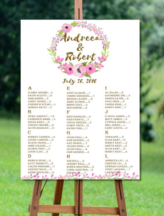 Druckbare Hochzeit Sitzgelegenheiten Diagramm alphabetischer