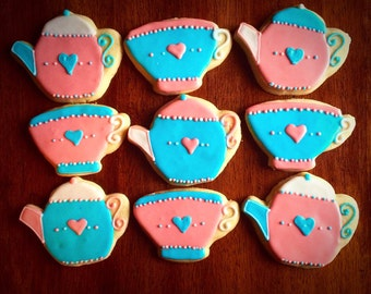 One Dozen - Tea Party Cookies - Tea Pot Cookies - Tea Cup Party Favors