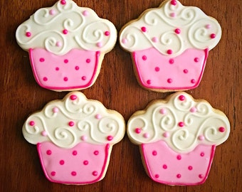 One Dozen - Cupcake Cookies - Cupcake Birthday Party Favors - Pink Cupcakes Celebration