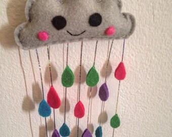 Shiny, sparkly Happy Rain Cloud - Hand sewn Felt