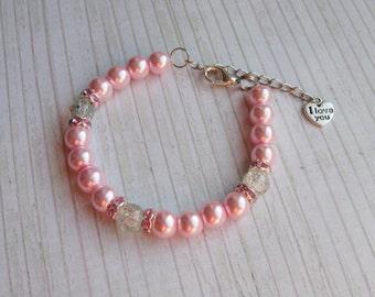 wedding pink bracelet bridal pearl bracelet white pearl bridal bracelet wedding pearl bridal cuff bracelet multistrand bracelet pearl beads