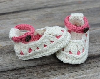 Crochet Baby Slippers, Cream and Rose Baby Shoes, Molly Summer Slippers, Baby Girl Shoes, Baby Gift
