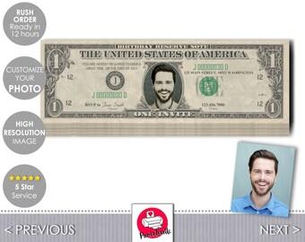 One Dollar Bill Birthday Ticket - Money Birthday Invitation - Customize Photo & Text - Digital Invites by Printadorable