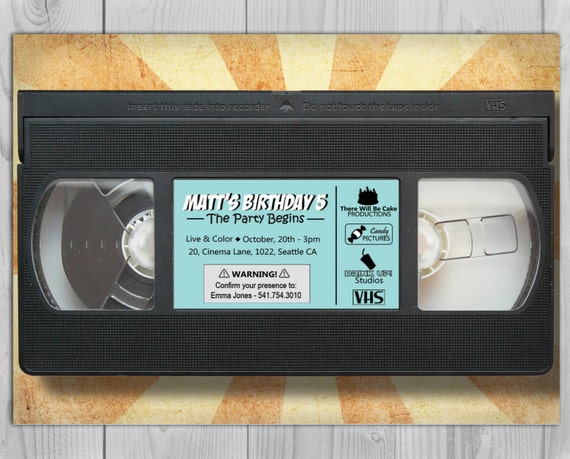 80's 90's VHS Cassette Birthday Invitation - 80's 90's Digital Birthday Party Invitations by Printadorable - Customizable