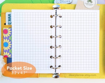PRINTED Pocket size grid inserts - 5mm grid planner insert - Graph paper refills - Square grid planner inserts - K18