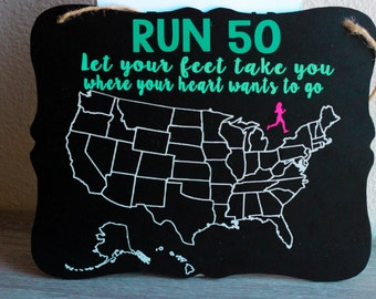 Run All 50 States Chalkboard Sign, Running Sign, United States Map, Running Board, Running Motivation, Running Wall Sign, US Chalkboard Sign