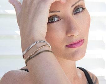 Tri-metallic chain bracelet