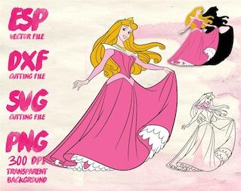 Disney Princess AURORA Clipart , SVG Cutting , ESP Vectors files , T shirt , iron on , sticker ,Personal Use