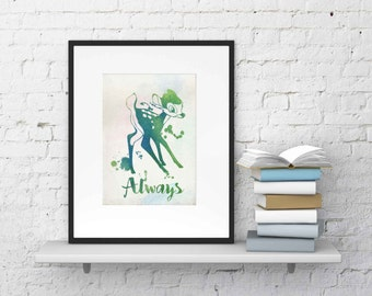 Alway Bambi  watercolor Wall Art ,Printable Art, Inspirational Quote, Typography Art, Digital Prints,Wall Art Prints, Digital Download