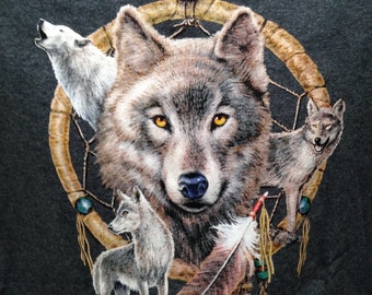 Wolf and Dreamcatcher, Native American theme T shirt